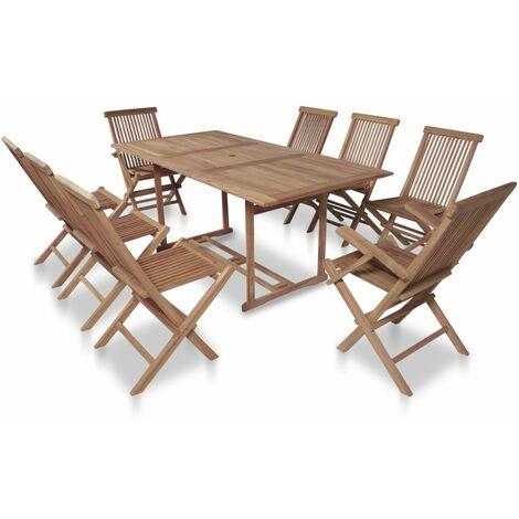 Tavolo Giardino Teak Pieghevole.Set Da Pranzo Da Giardino 9pz Sedie Pieghevoli Massello Di Teak