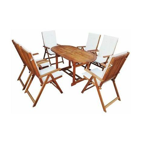 Tavolo Con 6 Sedie In Legno.Set Da Pranzo In Legno Di Acacia Per Esterni Con Cuscini 6 Sedie