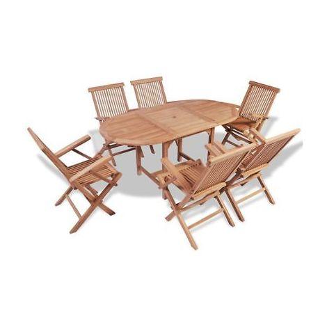 Tavolo In Legno Con 6 Sedie.Set Da Pranzo Per Esterni In Legno Di Teak Con 6 Sedie E Tavolo