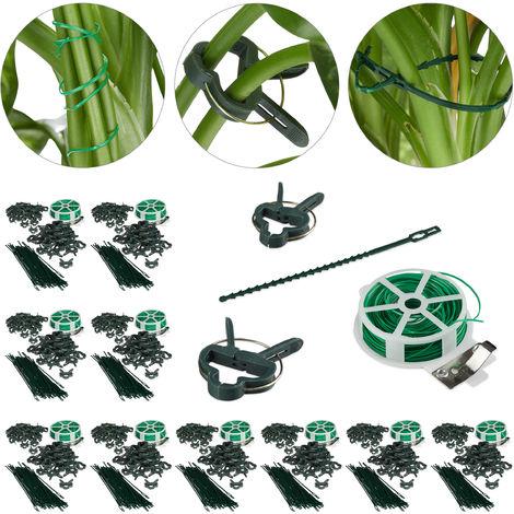 Set d'attache plantes set de 1100 pièces. Clips stables, fils fournis le cutter, tuteur roses, tomates, vert