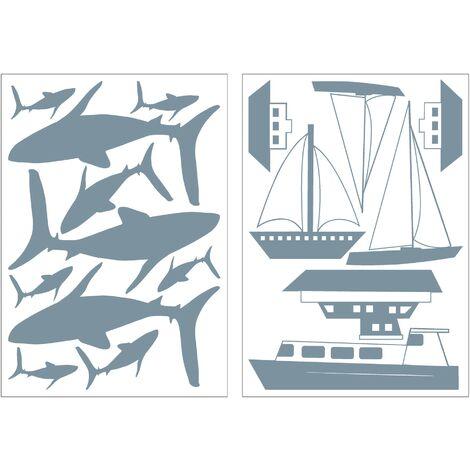 Set d'autocollants muraux Bateaux et requins 25 x 17,5cm Bleu