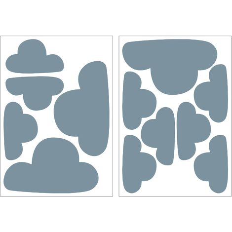 Set d'autocollants muraux Nuages 25 x 17,5cm Bleu