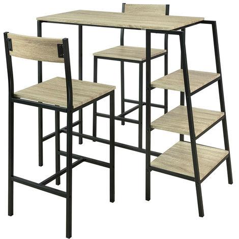 Set de 1 Table + 2 Chaises Ensemble Table de Bar Bistrot + 2 Tabourets de Bar avec Repose-Pieds Table Haute Cuisine Mange-Debout avec 3 Étagères Latéraux OGT16-N SoBuy®