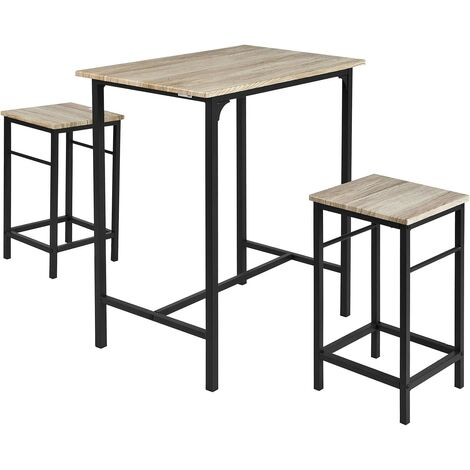 Set de 1 Table + 2 Tabourets Table Mange-Debout Table Haute Cuisine Ensemble Table de Bar bistrot + 2 tabourets SoBuy® OGT10-HG