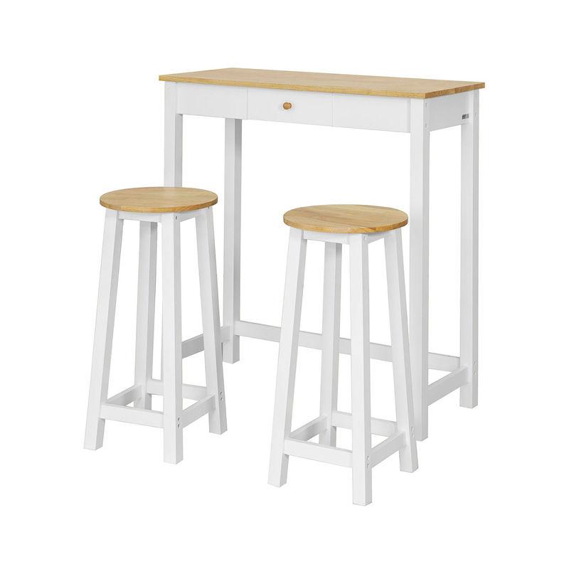 meilleur service accdb 86e36 Set DE 1 Table + 2 Tabourets Table Mange-Debout Table Haute Cuisine  Ensemble Table de Bar bistrot – Blanc Naturel FWT50-WN SoBuy®