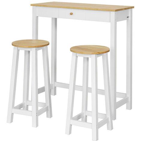 Set DE 1 Table + 2 Tabourets Table Mange-Debout Table Haute Cuisine Ensemble Table de Bar bistrot – Blanc Naturel FWT50-WN SoBuy®