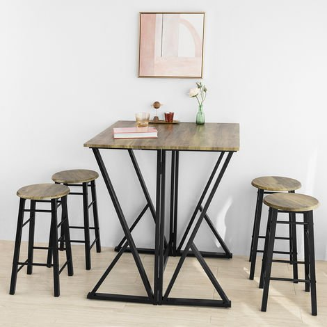Set de 1 Table + 4 Chaises Ensemble Table de Bar bistrot + 4 tabourets SoBuy® OGT24-N