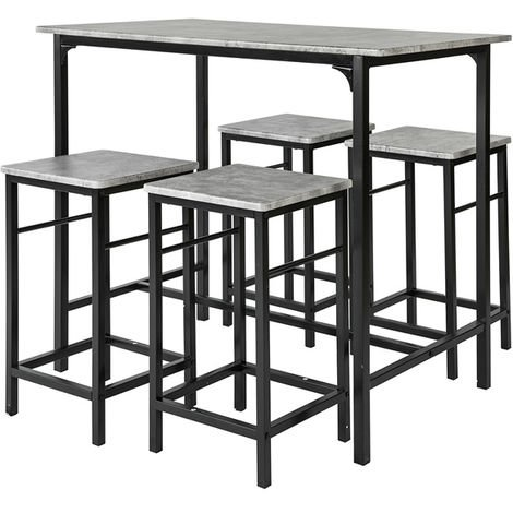 Set de 1 Table + 4 Tabourets Ensemble Table de Bar bistrot + 4 tabourets avec Repose-Pieds,OGT11-HG SoBuy®