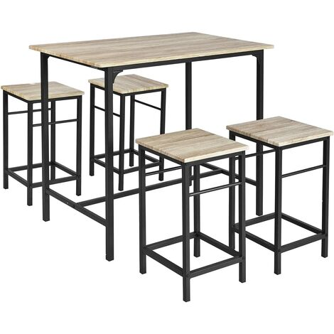 Set de 1 Table + 4 Tabourets Ensemble Table de Bar bistrot + 4 tabourets avec Repose-Pieds,OGT11-HG SoBuy®