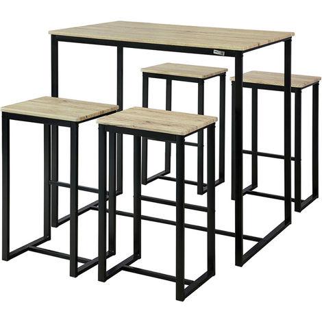 Set de 1 Table + 4 Tabourets Ensemble Table de Bar Bistrot + 4 Tabourets de Bar avec Repose-Pieds Table Haute Cuisine Mange-Debout OGT15-N SoBuy®