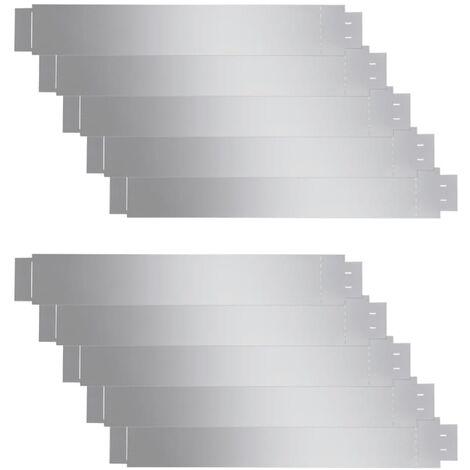 Set de 10 Clôtures de pelouse flexibles en acier galvanisé 100 x 15 cm