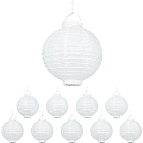 Set de 10 farolillos LED, Funcionamiento con pilas, Interior y exterior, Colgante, Lámpara de papel, Blanco, Ø 20 cm