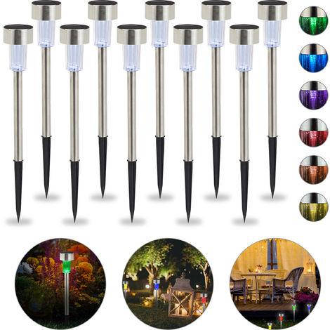 Set de 10 lámparas solares, LED impermeables, Iluminación de exterior, Acero inoxidable, Cambio de color, Plateado