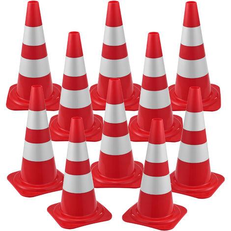 Set de 10 x Cono de Tráfico - Cono de Seguridad - Altura 50 cm - Pieza de Señalización Emergencia - Pilón de Seguridad - con Rayas Reflectantes - Flexible y Transportable - Rojo y Blanco