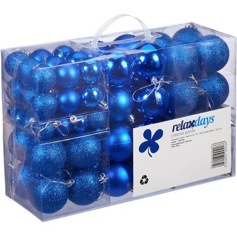 Set de 100 bolas de Navidad, Decoración navideña, Mate, Brillante, Árbol de navidad, ∅ 3,4 & 6 cm, Azul