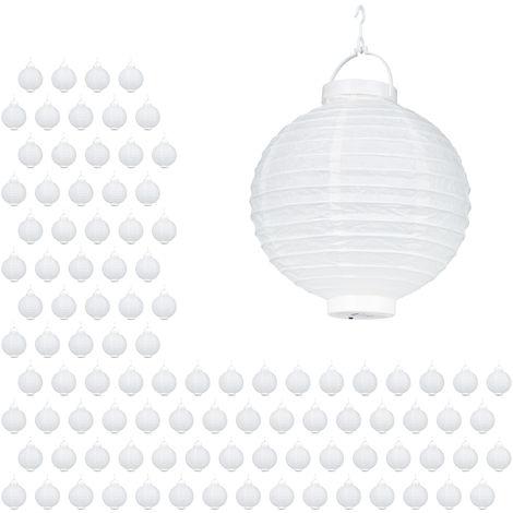 Set de 100 farolillos LED, Funcionamiento con pilas, Interior y exterior, Colgante, Lámpara de papel, Blanco, Ø 20 cm