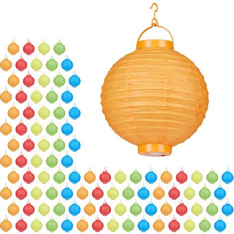 Set de 100 farolillos LED, Funcionamiento con pilas, Interior y exterior, Colgante, Lámpara de papel, Multicolor, Ø 20 cm