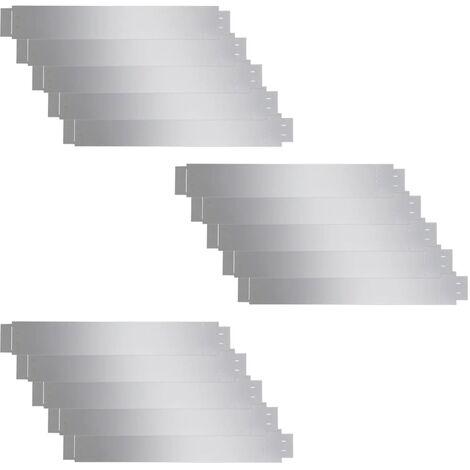 Set de 15 Clôtures de pelouse flexibles en acier galvanisé 100 x 15 cm