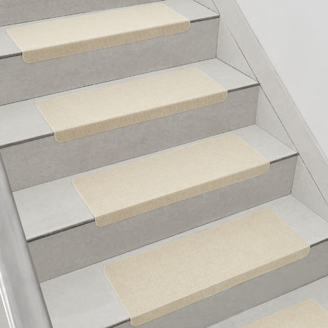 Set de 15 Marchettes d'Escalier Tapis Antidérapante Polyester 65 x 23 cm Forme Angulaire Beige