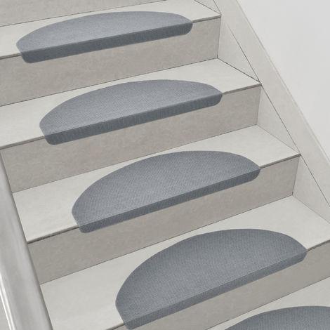 Set de 15 Marchettes d'Escalier Tapis Antidérapante Polyester 65 x 23 cm Forme Demi-Lune Gris