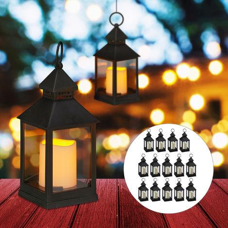 Set de 16 faroles LED de jardín, Vela con efecto de llamas, Iluminación de exterior, Colgante o de pie, 23 cm, Negro