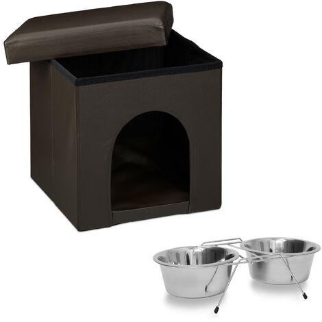 Set de 2 artículos para mascotas, Comedero doble L, Acero inox, Perros y gatos, Taburete con casa para perros, Marrón