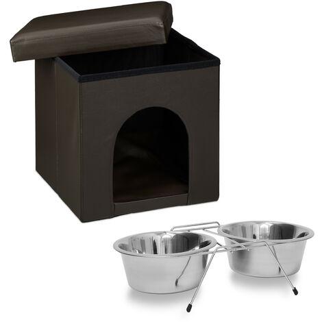 Set de 2 artículos para mascotas, Comedero doble XL, Acero inox, Perros y gatos, Taburete con casa para perros, Marrón