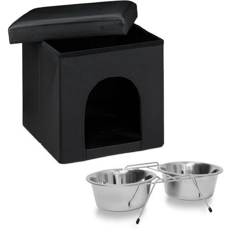 Set de 2 artículos para mascotas, Comedero doble XL, Acero inox, Perros y gatos, Taburete con casa para perros, Negro