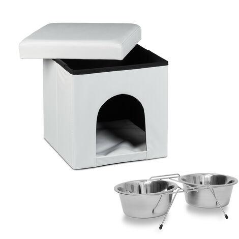Set de 2 artículos para mascotas, Taburete con casa para perros, Blanco, Comedero doble, Acero inox., Perros y gatos
