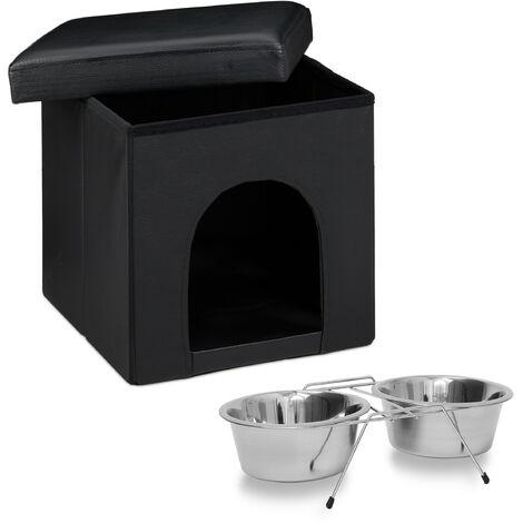 Set de 2 artículos para mascotas, Taburete con casa para perros, Negro, Comedero doble, Acero inox, Perros y gatos