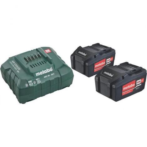 Set de 2 batteries Li-Power 5.2Ah + un chargeur ASC 30-36/55 Metabo