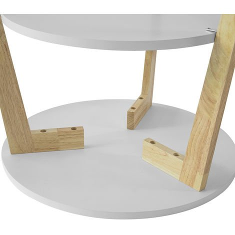 Set de 2-Blanc et Bois Ronde Table d\'Appoint Table Basse Ronde Guéridon  FBT75-W SoBuy®