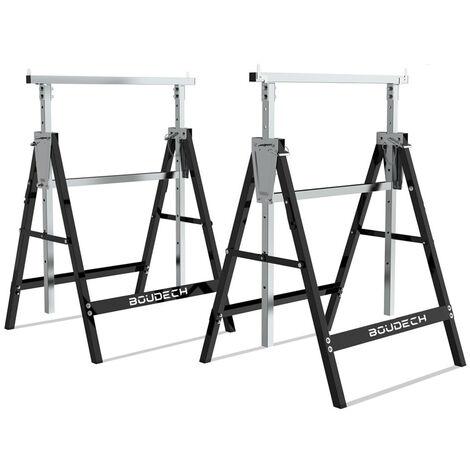 Set de 2 caballetes telescópicos plegables de 300 kg, ideales como arrastrador de pontones, banco de trabajo y soporte de corte de vigas.