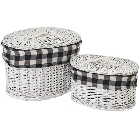 Set de 2 cestas de mimbre y tela blanco y negro de cuadros vichy