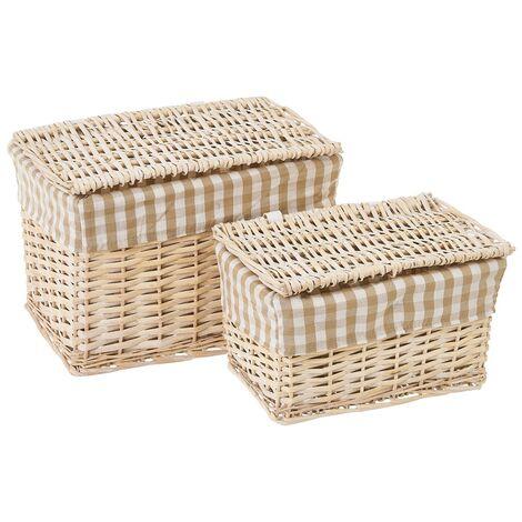 Set de 2 cestas de mimbre y tela marrón y beige de cuadros vichy