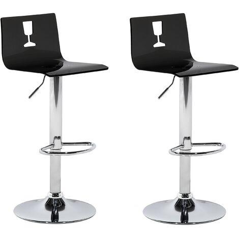Set de 2 chaises de bar transparentes noires BUSAN