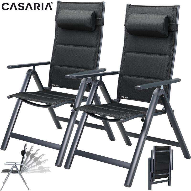 Set de 2 chaises de jardin dossier haut Terrasse Balcon Chaises de jardin Anthracite Argent Anthracite