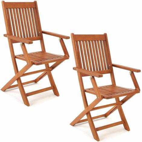 """Set de 2 chaises de jardin pliantes """"Sydney"""" en bois d'acacia certifié FSC pour salon de jardin sydney accoudoirs extérieur pliable chaise de table de jardin pré-huilé balcon terrasse"""