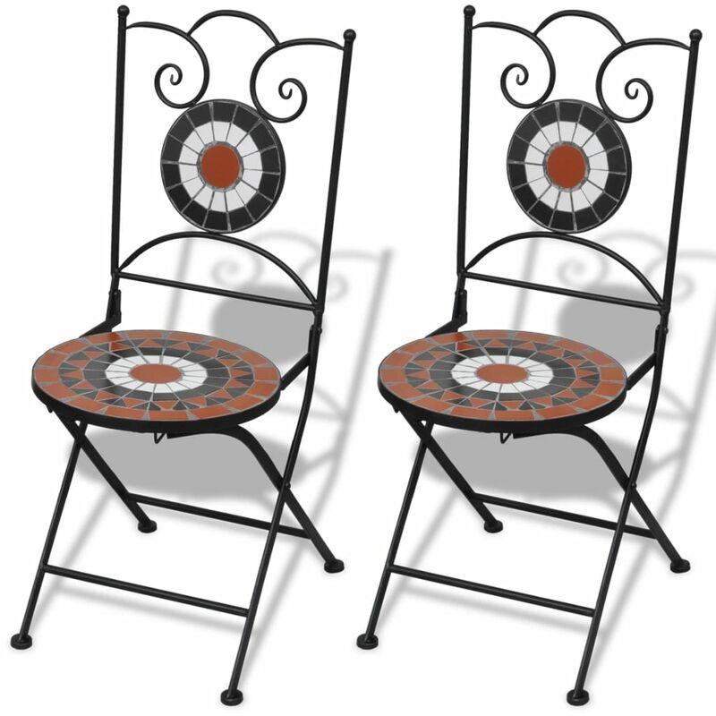 Chaises Pliables de Bistro 2 pcs Céramique Terre Cuite et Blanc