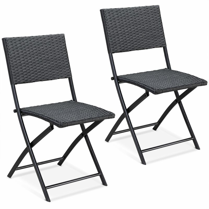 Set de 2 chaises pliantes 'Rome' max. 120kg polyrotin 43x49x81cm noir fauteuil chaise de jardin confortable résistantes aux intempéries balcon