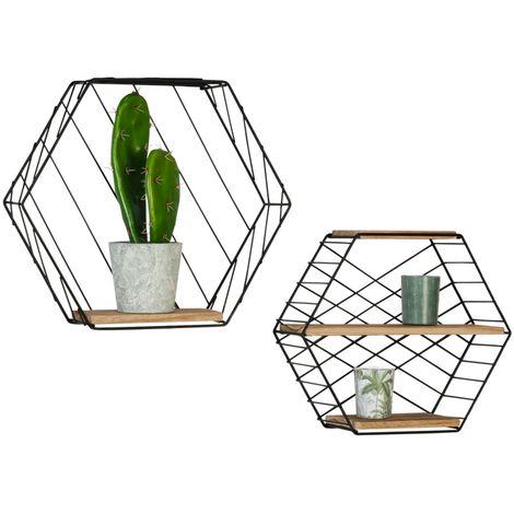 """main image of """"Set de 2 étagères murales hexagonales LILY en métal design industriel"""""""
