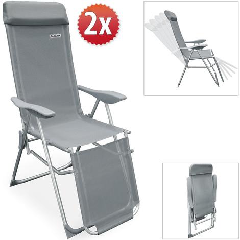 Set de 2 fauteuils de jardin pliable • Réglage 7 positions • Chaise ...