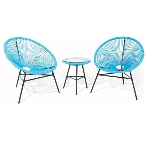 Set de 2 fauteuils design oeuf en rotin bleu avec table assortie