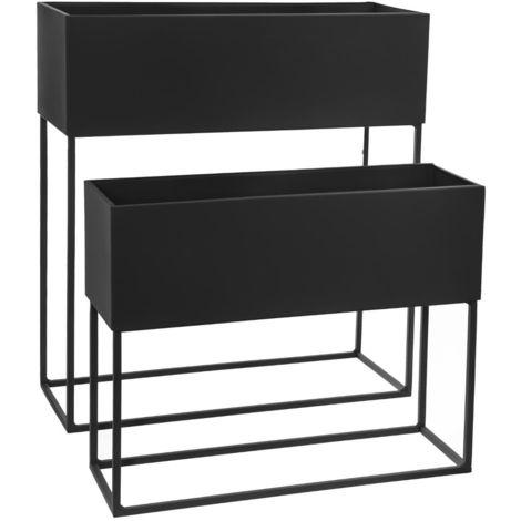 """main image of """"Set de 2 Jardinières rectangles noire en métal -PEGANE-"""""""
