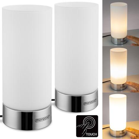 Set de 2 lampes à poser Lumo E14 Lampe de table tactile 3 modes d'éclairage