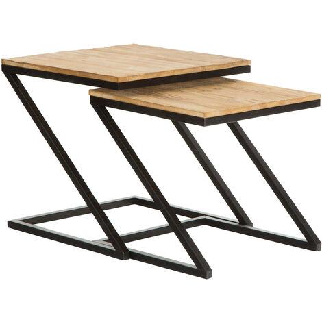 Set de 2 mesas auxiliares de madera Aphex| Mesas nido | Mesas de café - 50281001052327