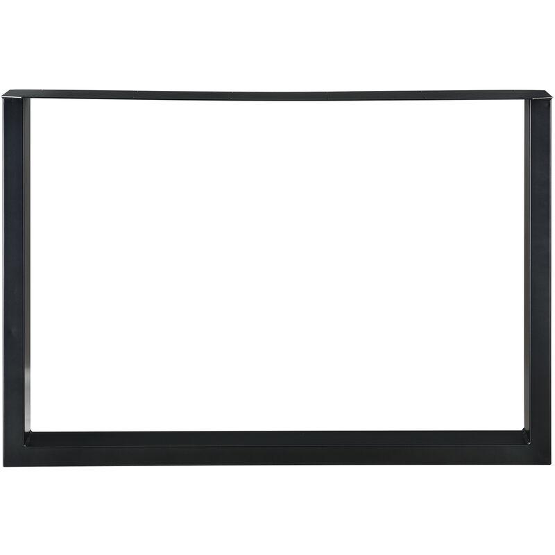 Set de 2 Pieds de Table Pied de Meuble Rectangulaire Pied de Table /à Manger avec Protecteur de Sol et Accessoires de Montage Noir 100 x 72 cm en.CASA