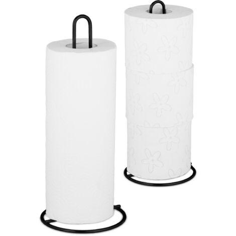 Set de 2 Portarrollos de Cocina, Porta Rollo Papel, Soporte Dispensador, WC, Metal, 32 x 13 cm, Negro