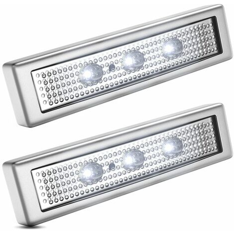 Set de 2 réglettes LED armoire placard veilleuses sans câbles alimentation par piles