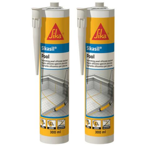 Set de 2 SIKA Sikasil Sellador de Silicona para Piscina - Transparente - 300ml